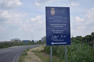 Refugee camp in Subotica, Serbia