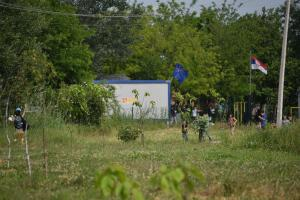 Outside the refugee camp - Subotica, Serbia