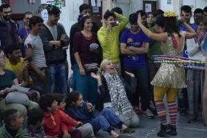 Performance in Refugee Aid Miksalište - Belgrade, Serbia