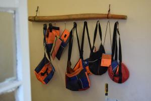 Mosaik Support Center - bags made out of life jackets